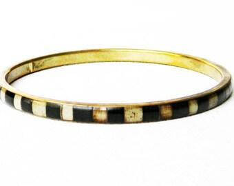 Vintage Striped Horn Inlay Brass Branelet