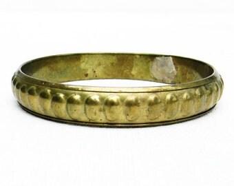 Vintage Brass Hammered Bangle Bracelet