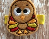 Little Tommy Turkey Fall Thanksgiving felt Hair Clip Tan Orange Red Yellow Babies-Toddlers-Girls
