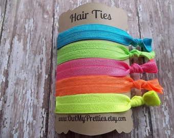 FOE Elastic Hair Ties The NEON Collection Toddlers Girls Women -Set of 5-