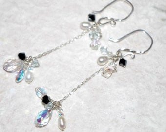 Hand-crafted Earring, Sterling Silver, Swarovski Crystal, Freshwater Pearl, Chandelier, Delicate