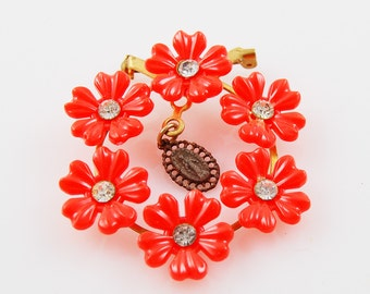 Vintage Bright Orange Flower Brooch with Religious Symbol