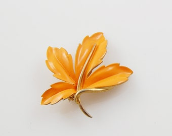 Vintage Orange and Gold Flower Brooch