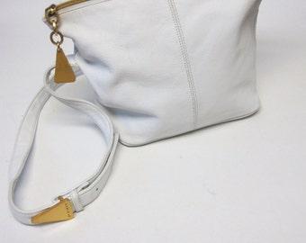 Sharif White Leather Purse Handbag