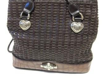 Marlo Basketweave Chestnut Brown Purse Handbag Hobo Large Western Concho