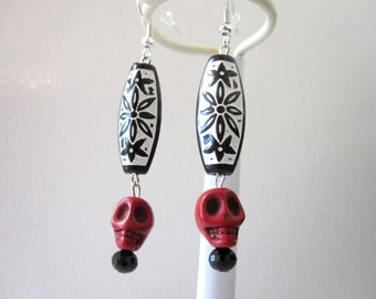 Red Skull Earrings Black Day of the Dead Jewelry
