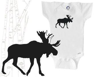 Organic moose onesie, moose silhouette, black and white