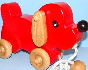 BIG Red Wooden Puppy Dog - PULL TOY