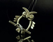Sterling Silver / Leather Owl Bracelet - Oliver
