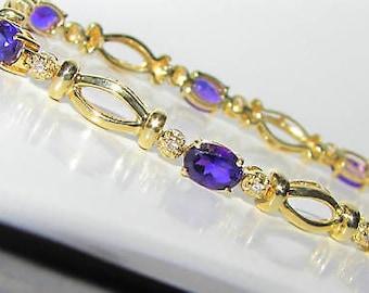 7.25CT Natural Oval Amethyst Diamond Bracelet 14KT