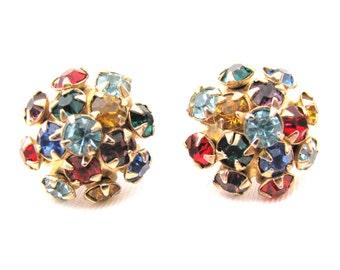 Vintage Multi Color Rhinestone Earrings, Screw Back Earrings, Colorful Earrings