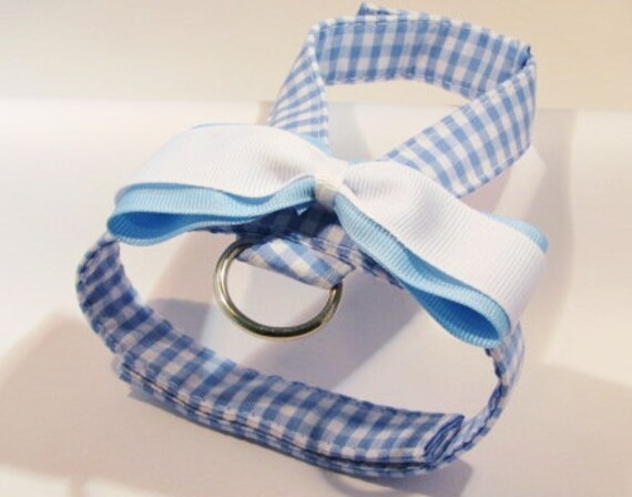 Small dog harness, velcro close Blue Gingham 2
