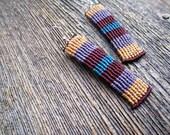 Handmade Micro Macrame Earrings in Purple, Brown & Blue with Sterling Silver Hoops