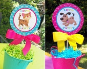 Cat and Dog Centerpiece Topper Printable - Instant Download - Meow, Sit Stay and Play Collection