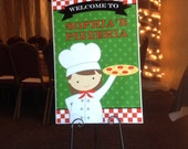 Girl's Pizza Party Welcome Sign Printable - You Pick Hair Color/Style and Skin Tone - Pizzeria Party Collection