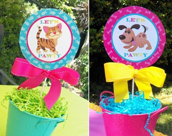50% OFF SALE - Cat and Dog Centerpiece Topper Printable - Instant Download - Meow, Sit Stay and Play Collection