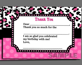 Pink Leopard - Thank You Note Printable - Instant Download -Pink Cheetah Collection