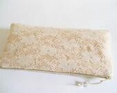 Peach Lace Clutch, Wedding Clutch, Bridesmaid Bag, Cream Bridal Handbag, Lace Evening Wallet