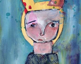 """Prue - 9x12"""" Original Primitive Portrait painting"""