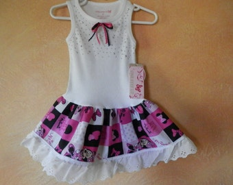 Pink, Black and White Minnie Mouse Tank Dress