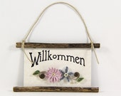 Quilled Magnet -327- Willkommen - German Welcome, Ornament, Party Favor, Hostess Gift