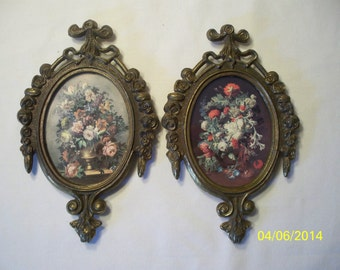 """Victorian Italy Brass Framed Flower Pictures 4"""" x 6 1/4"""" Set of 2"""