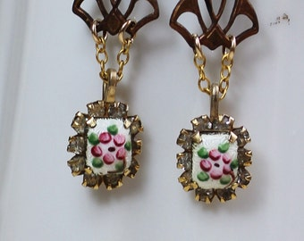 French Clockwork- Vintage French Guilloche Enamel Earrings with Clock Hand Dangles- Pink Roses and Rhinestones- One of a Kind