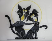 Reversed painted Cats silouhette - BarnshopAntiques