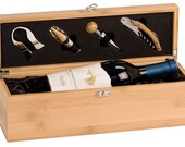 Engraved Wooden Wine Box With Tools - Personalized Bamboo Wine Box with Custom Engraving - Wedding Gift, Anniversary Gift, Ceremony Wine Box