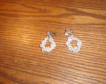 vintage clip on earrings lucite bead dangles