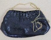 60s - Vintage Whiting and Davis - Black Mesh - Glam - Gold Chain Strap - Formal - Cocktail - Handbag - Shoulder Purse - Clutch