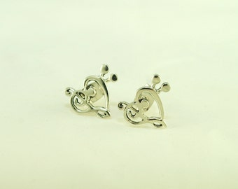 Musical Love Treble and bass Sterling silver Stud Earrings