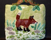 Art pottery Fox Wall Art This tile is handmade in U.S.and sold by Artist one of a kind