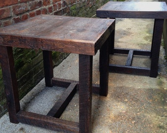 Rustic Modern Wooden Nightstands, Side tables or End Tables Made Reclaimed New Orleans Homes