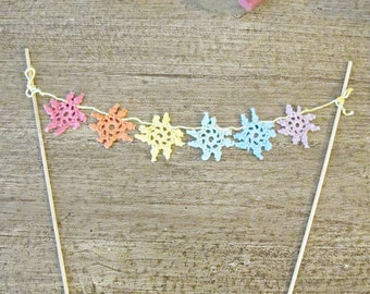 Rainbow Cake Topper Baby Shower - Boho Pastel Party Supplies - Decoration Bunting Doilies