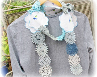 SALE Skinny Doily Scarf Ombre Blue Serena Vintage Doilies Clothing Crochet Shabby Chic White Floral Flowers Sky Pastel Domum Vindemia