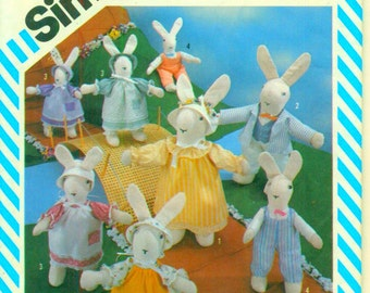 Easter Bunnies and Wardrobe in 2 Sizes Simplicity Vintage Sewing Pattern 6312 OOP