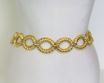 1980s Belt Chain Belt Gold Tone Belt Gold Tone Metal Belt 80s Cast Metal Belt Gold Chain Belt Gold Belt Womans Belt