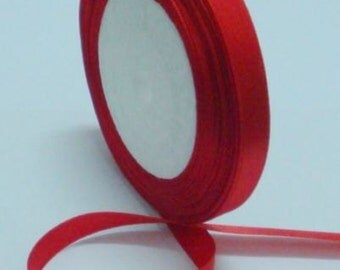 "Red Satin Ribbon-1/4""-6mm - 5 or 10 YDS."
