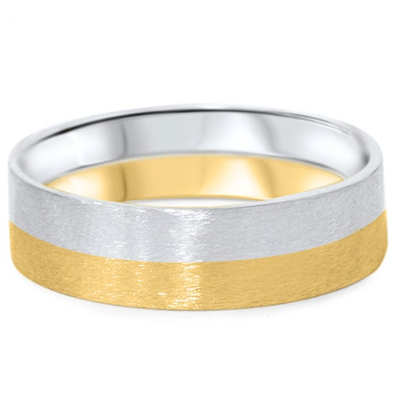 Mens 6MM Solid 14K Whtie & Yellow Gold Two Tone Flat Brushed Wedding Ring Band Size (7-12)