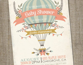 Hot Air Balloon Baby Shower Invitation, Hot Air Balloon Invitation, Up Up  And Away