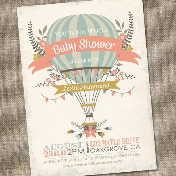 antique hot air balloon invitation printable hot by partymonkey