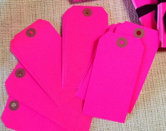 Florescent Pink Neon Shipping Tags Hot Pink 80's Party CLEARANCE