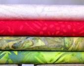 Batik Fabric Fat Quarter Bundle - Four Fat Quarters, 100 Percent Cotton, by Island Batik