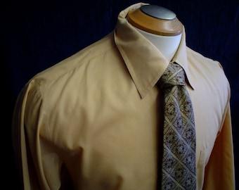 """60s 16"""" Kent Arrow Poly Cotton Mens Big Collar Tan Shirt & Tie"""