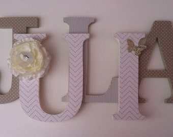 Wooden  letters for nursery in  taupe ,cream and gold