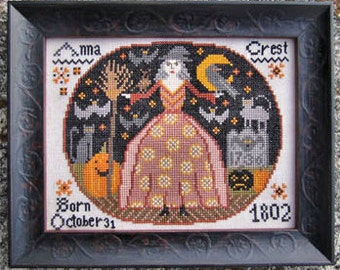 Halloween Birthday : Kathy Barrick counted cross stitch patterns All Hallows Eve October Autumn Fall hand embroidery
