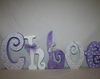 Wooden letters Childrens room decor 15.00 per letter Wood nursery letters Nursery decor Purple and white decor Personalized wood name