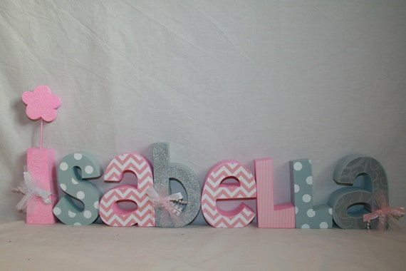 Items similar to decorative wooden nursery letters 8 for Baby name letters decoration