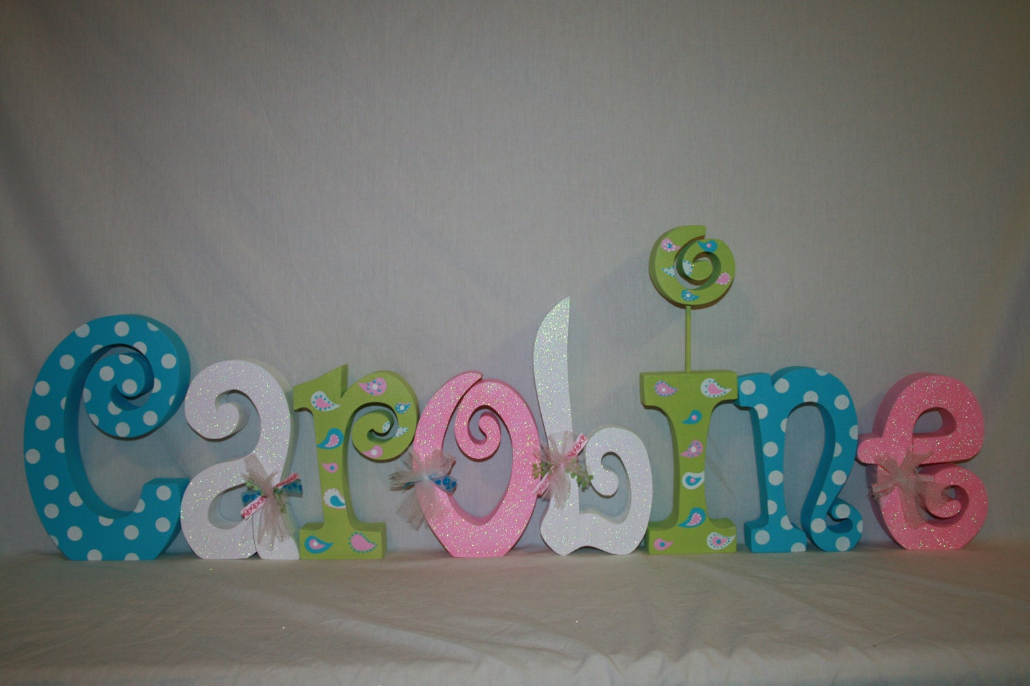 Nursery wall decor wood letters 8 letter set kids room - Decorative wooden letters for walls ...